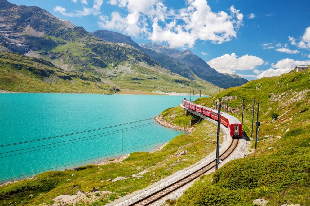 The Bernina Express going around a bend